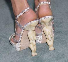 prehistoric venus sculpture inspired heels