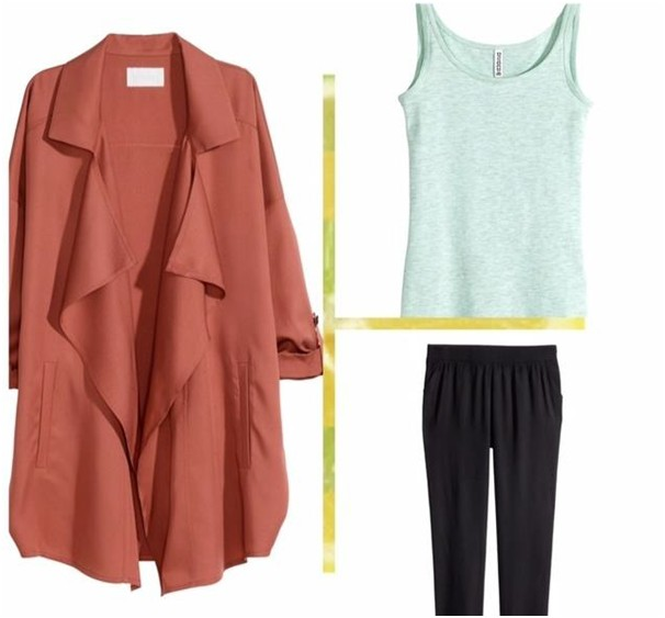 Clockwise: (H & M ) Wide Coat in Lyocell, (H & M) Ribbed Top, (H & M) Trousers loose fit