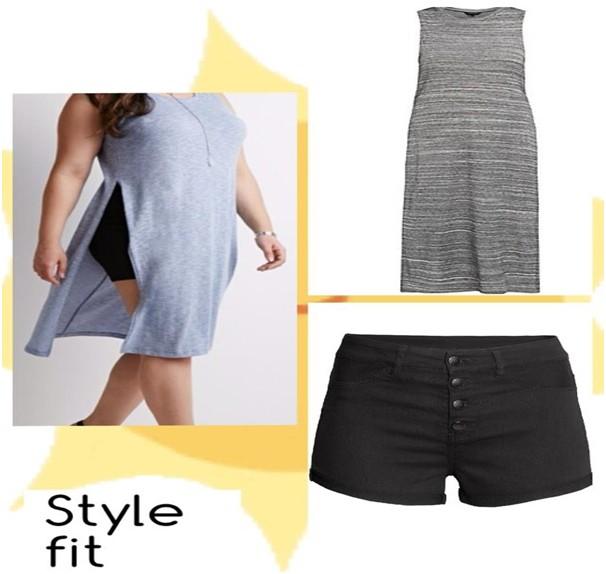 Above: (New Look) Dark grey split side Below: ( H & M) Shorts high waist