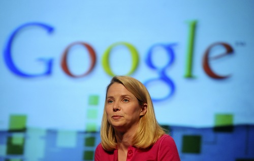 """Marissa Mayer, vice president for search products and user experience at Google Inc., speaks at the TechCrunch Disrupt conference in San Francisco, California, U.S., on Wednesday, Sept. 29, 2010. Mayer said tablet computers are the """"wave of the future."""" Photographer: Noah Berger/Bloomberg via Getty Images"""