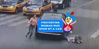 car runs over woman