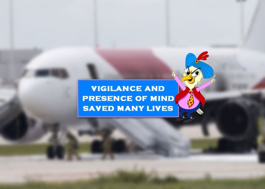 plane catches fire