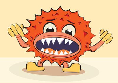 cartoon funny angry bacillus, vector illustration