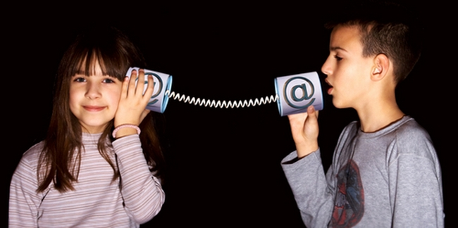 Boy and girl used the Internet communication