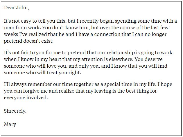 Emotional letter to boyfriend after breakup